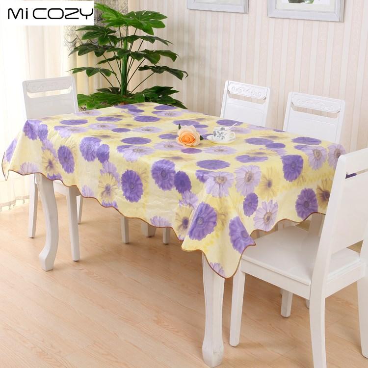 Micozy 목가적 인 사각 테이블 피복 PVC 물과 기름 가공 꽃 인쇄 테이블 피복