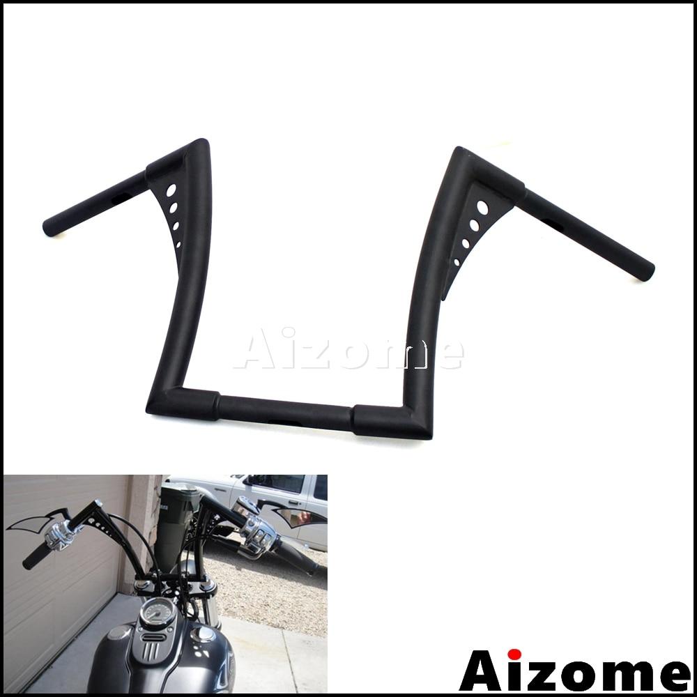 """Z Bar Mini Lamp: Black 12"""" Rise Ape Hanger Handlebars For Harley FLST FXST"""