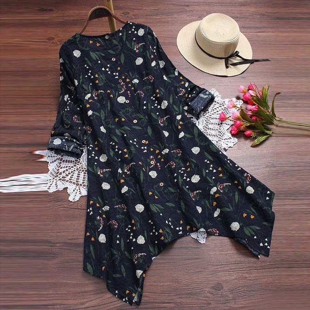 Plus Size 5XL Womens Tops and Blouses 2018 Vintage Floral Print Long Sleeve Long Shirts Tunic Harajuku Ladies Top Clothes 3