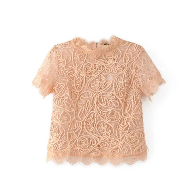 Short sleeve casual o-neck back zipper lace crop top