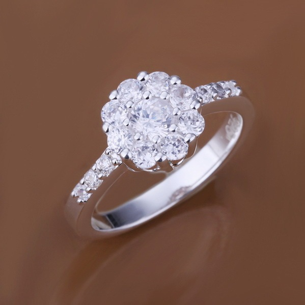 womens flower shaped round setting with stones 925 silver cz diamonds wedding ring wholesale 925 - Rose Shaped Wedding Ring