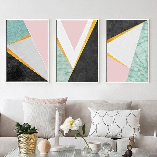 Haochu nórdico formas geométricas mármol pared cuadros para la sala ...