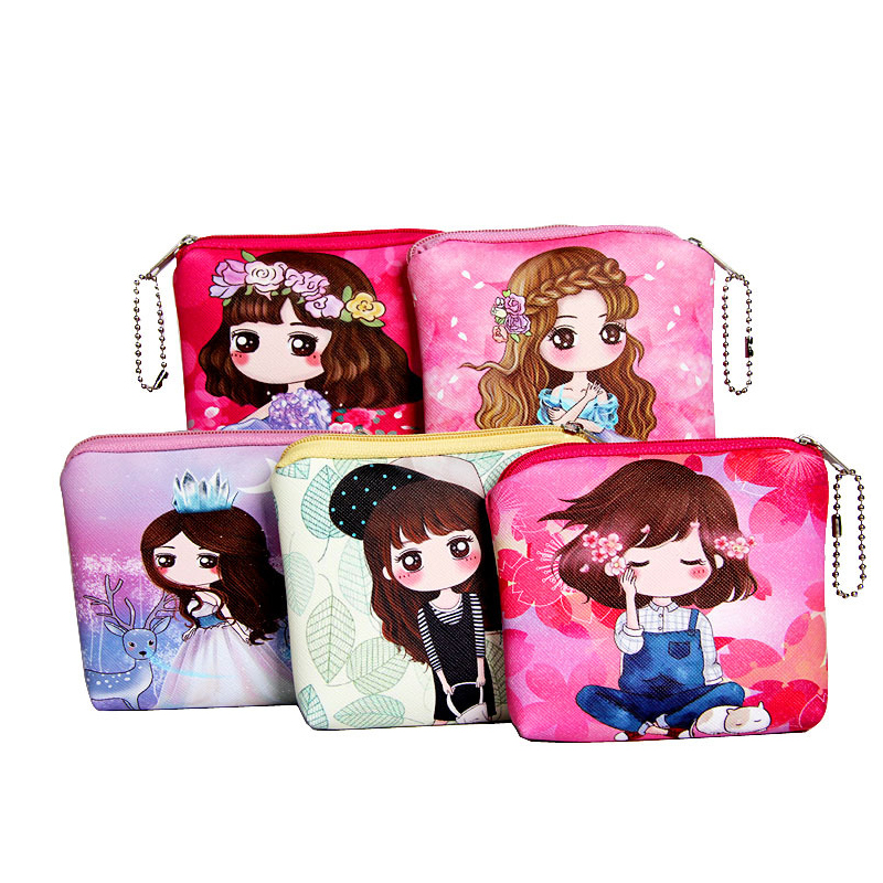New cartoon Mini Coin Purse kids Girl PU Leather wallet money bag Baby Girl Children Small Zipper Change Purse Coin Purses
