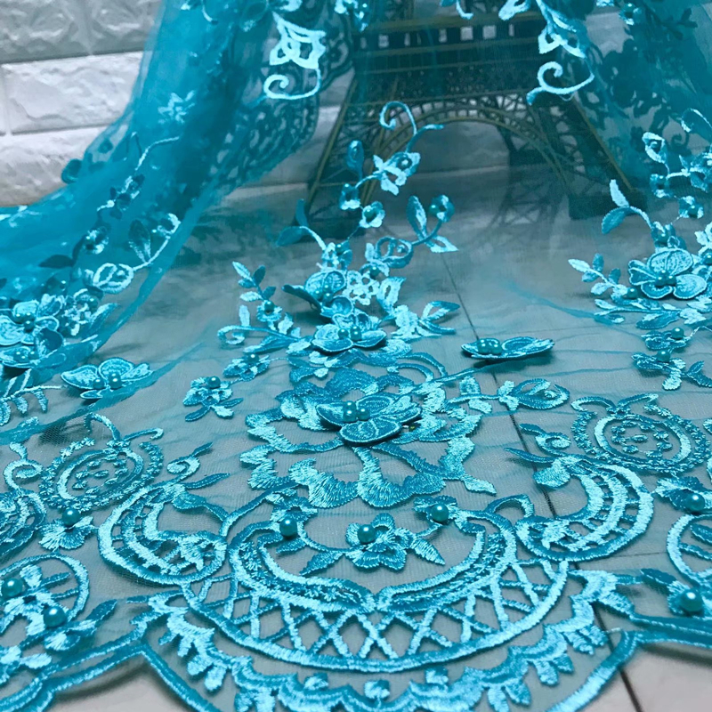 BEAUTIFICAL 3d Lace Beads Rhinestones African French Tulle Lace 3d Embroidery Tissu Lace ML5N596 in Lace from Home Garden