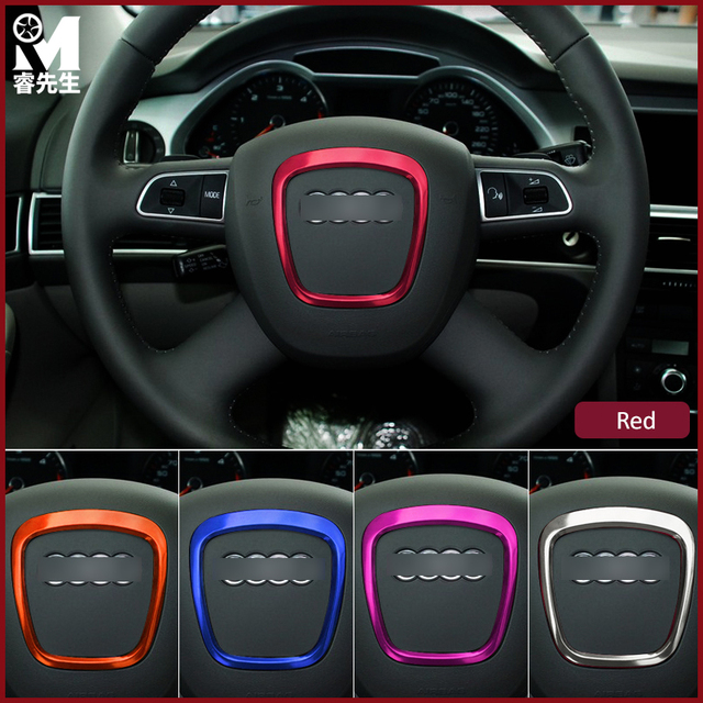 Car Styling Aluminum Interior Modified Steering Wheel Decorative - Audi circle