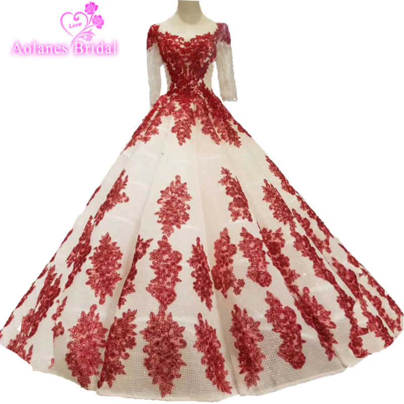 2019 Latest Red Lace Tulle Ball Gown Prom Dresses Heavy Beading Engagement  Photos Red Carpet Formal 94fc2166c99d