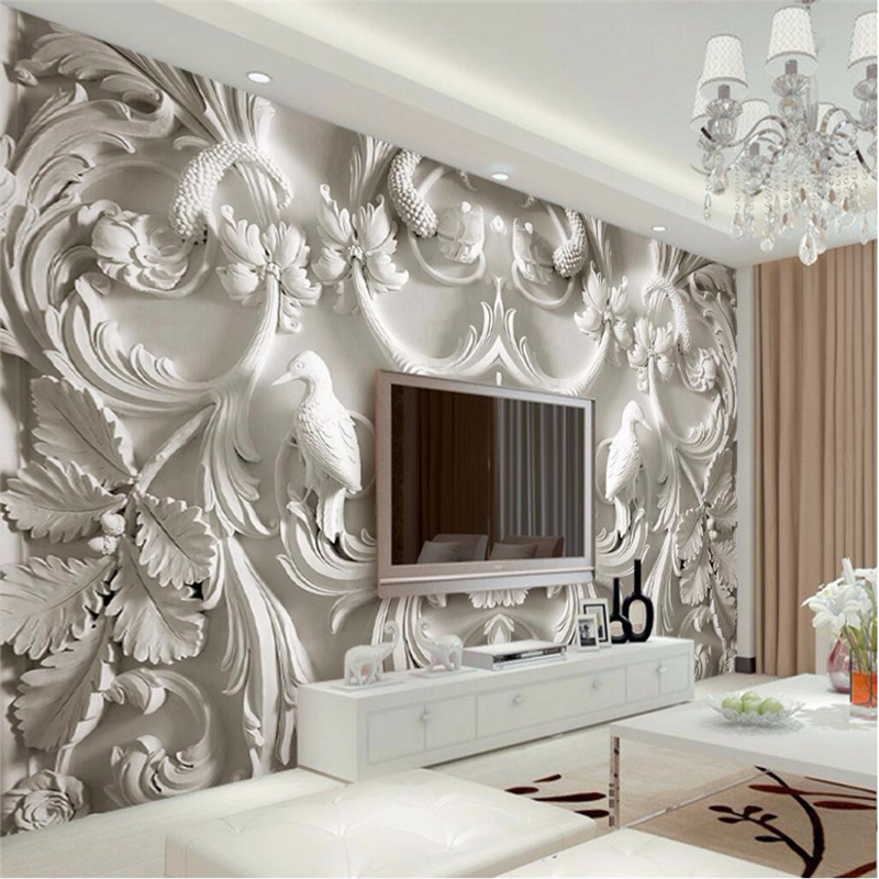 beibehang modern painting for living room background photography HD flowers embossed 3D visual ...