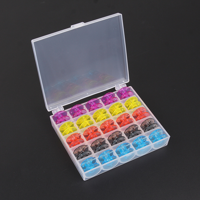 25Pcs Single Sewing Machine Bobbins Plastic Spool W/ Thread Storage Case  For Janome Singer Brother
