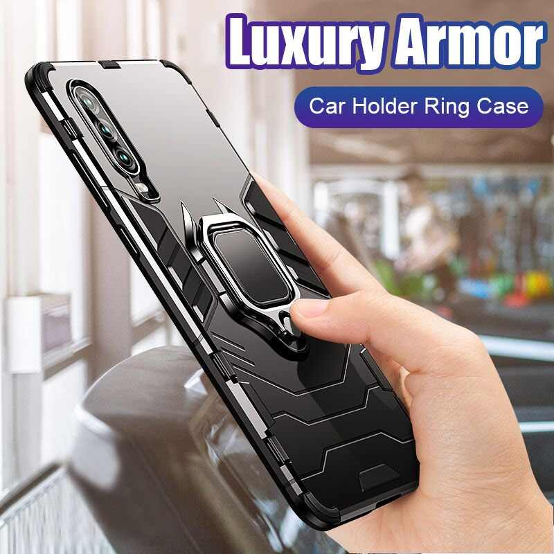 Luxury Armor Shockproof Case Soft Bumper Cover On The For Huawei Honor 8x Max 10 Lite P Smart Y9 2019 Car Holder Ring Case