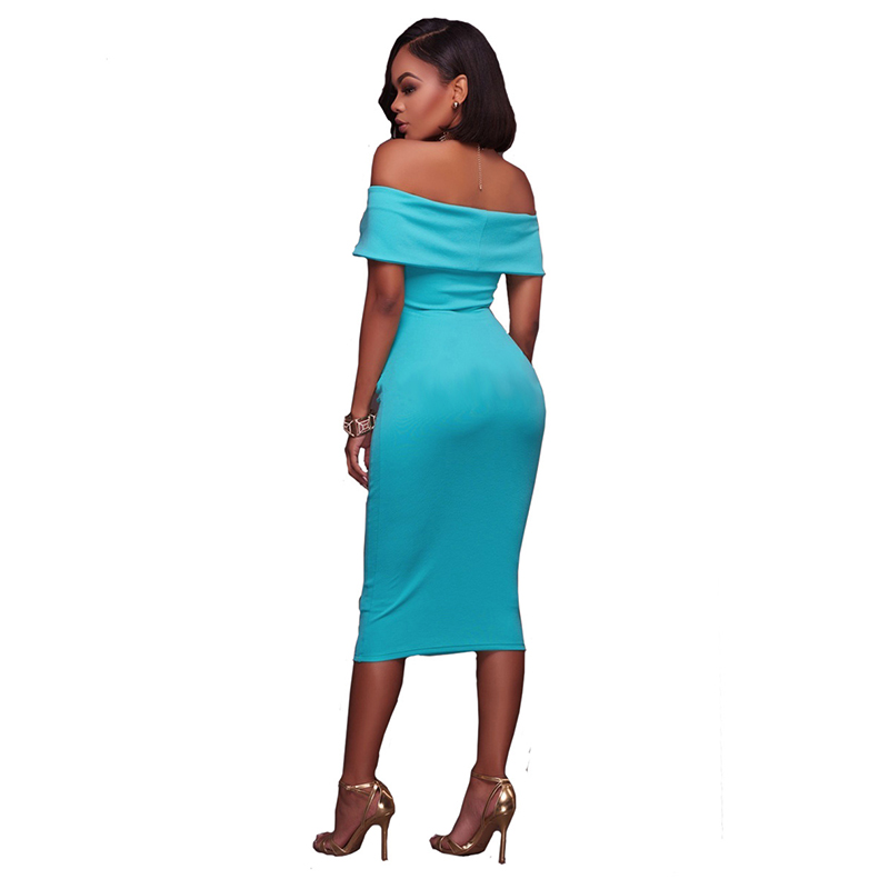 Summer Dresses Women Black Sexy Off Shoulder Party Dress 2017 Fashion  Elegant Knee Length Bodycon Sexy Dress Clothes LJ9435C-in Dresses from  Women s ... 1bf74ce52688