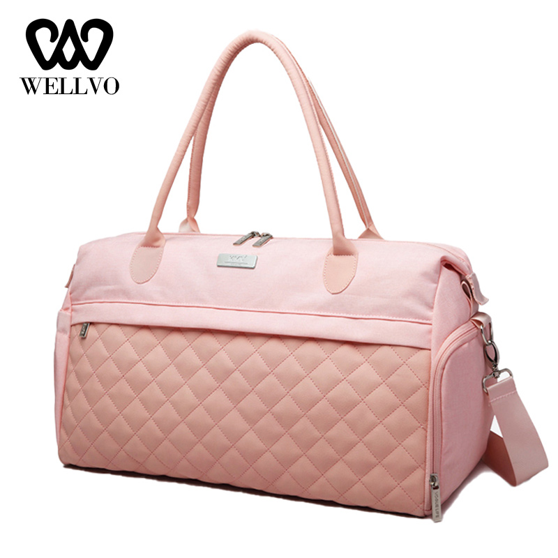 Women Fitness Bags Diamond Lattice Hand Sports Bag Multifunctional Ladies Nylon Shoulder Bag Big Traveling Weekend Bags XA778WB