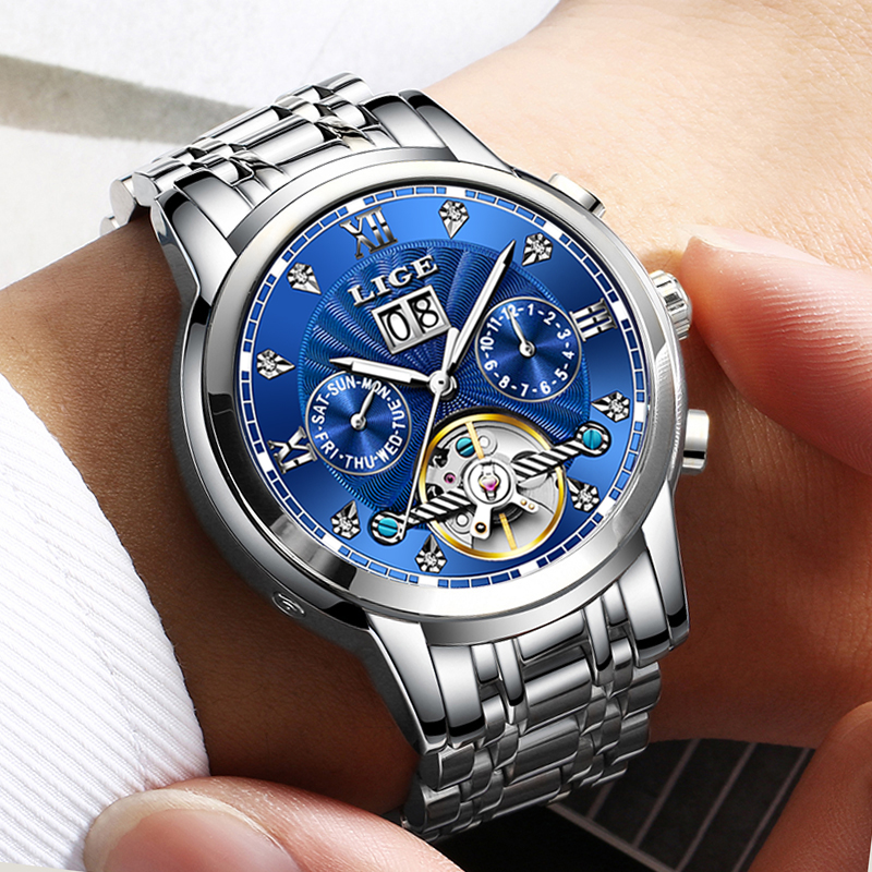 LIGE New Men Watches Top Brand Luxury Automatic Mechanical Watch Men Waterproof Full Steel Business WristWatch Relogio MasculinoLIGE New Men Watches Top Brand Luxury Automatic Mechanical Watch Men Waterproof Full Steel Business WristWatch Relogio Masculino