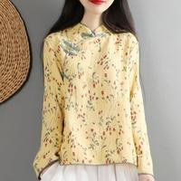 Vintage literary cotton and linen shirt women spring national wind blouse tops stand collar