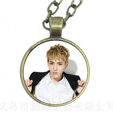 Hot KPOP EXO Necklace EXO Member Figure 25mm Glass Cabochon Charm Pendant Sweater chain For Fans Support Jewelry Gift(China)