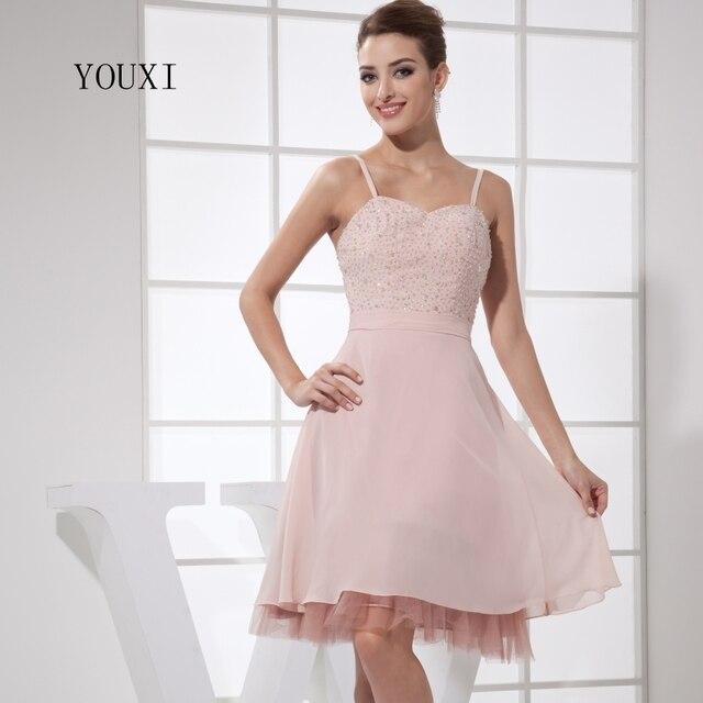 46ed5d03f Cariño Sexy Rosa vestidos 2019 caliente Chifon de la rodilla-longitud  vestido de fiesta cóctel