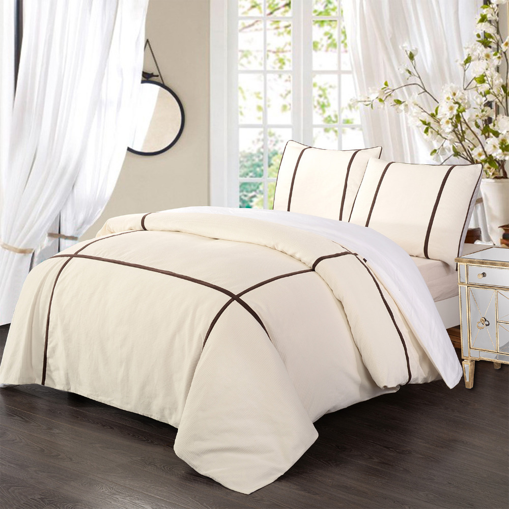 100 cotton fustian cord bedding set duvet cover set white with brown in bedding sets from home. Black Bedroom Furniture Sets. Home Design Ideas