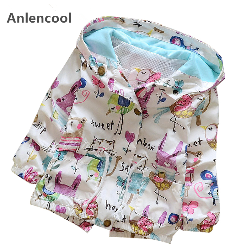Anlencool Clothing Baby-Girls Jackets Coats Outerwear Hooded Graffiti-Printing Children