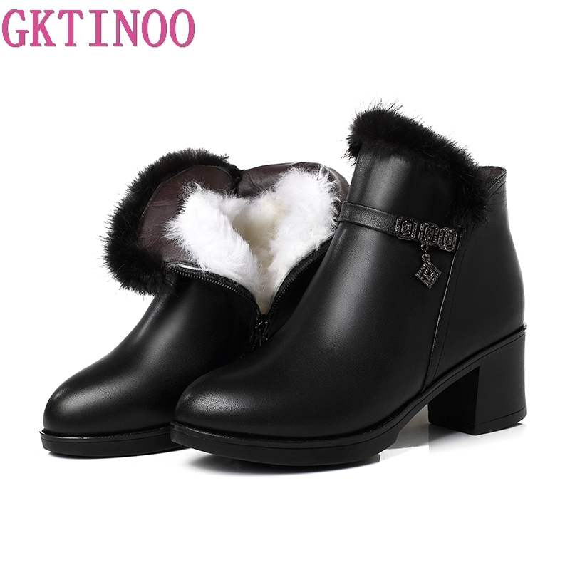 GKTINOO Women Boots High Heels Platform Shoes Winter Thick Warm Wool Boots For Women Genuine Leather Ankle Boots Plus Size