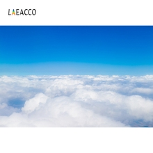 Laeacco Sunny Blue Sky White Clouds Scenic Photography Backgrounds Custom Vinyl Photographic Backdrops For Photo Studio