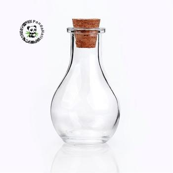 30pcs Glass Bottle for Bead Containers, with Tampions, Clear, about 88mm high, 49mm wide, Hole: 15mm