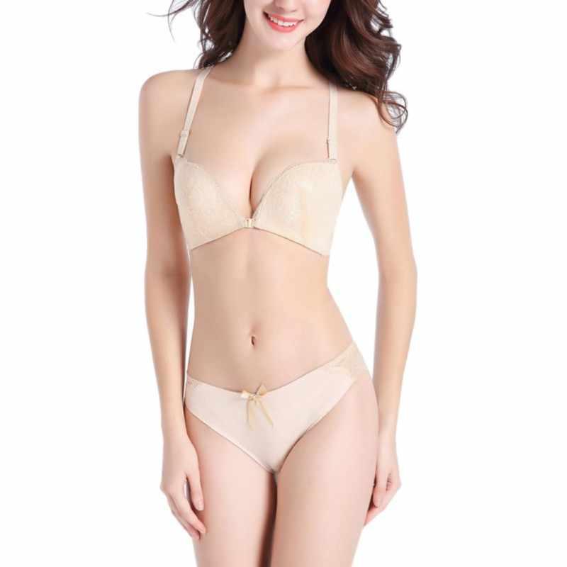 e1bf1dc5d2ecb 1Set Bra+ Briefs Women Underwear Sexy Lingerie Push-up No Rims Lace Front  Buckle Back