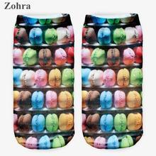 Zohra Donuts Graphic 3D Full Printing Women's Low Cut Ankle Sock lovely Sokker Multiple Colors Cotton Hosiery Socks