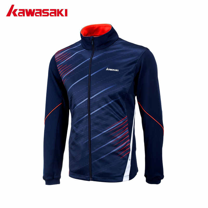 Kawasaki Autumn Men Sports Jackets Polyester Fitness Gym Tennis Badminton Long Sleeve Jackets Breathable Quick Dry Blue JK-17181