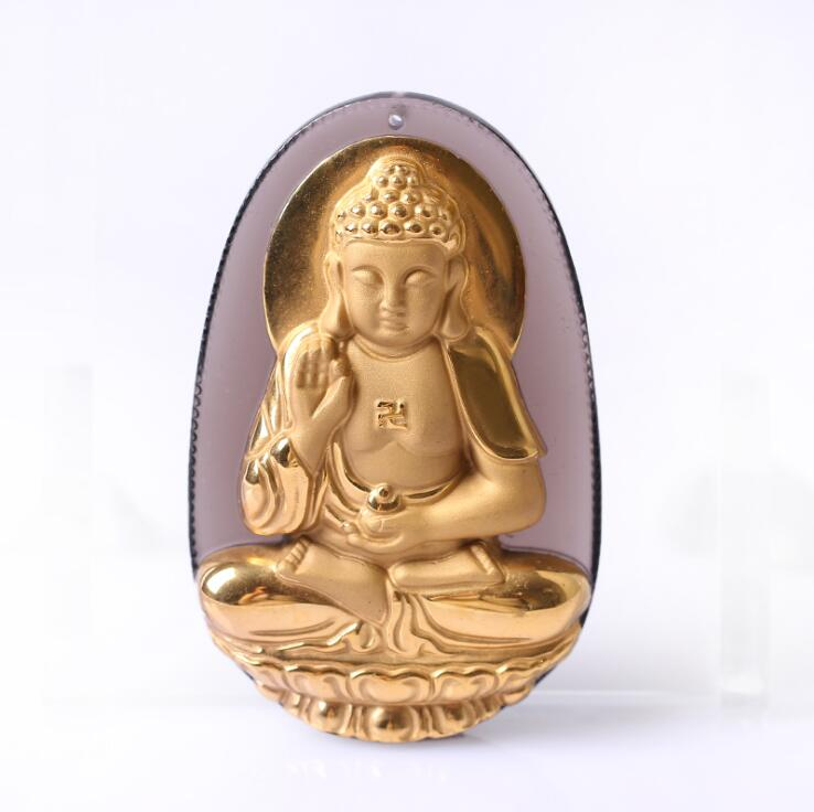 Natural Ice Clear Obsidian Carved Gold color Chinese AmiTuoFo Kwan-Yin Buddha Lucky Pendant + free Necklace fashion Jewelry