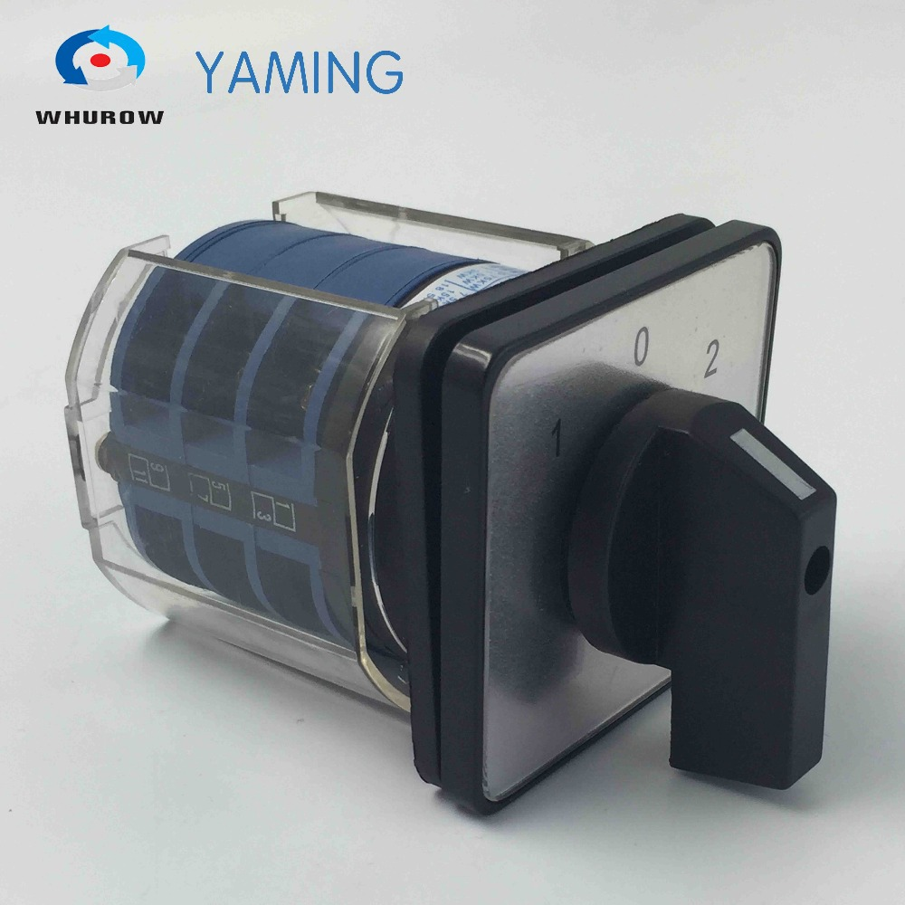 Yaming electric LW26-32/3 changeover rotary switch with plastic cover 660V 32A 3 poles 3 position on-off-on control motor china supplier changeover switch 63a 3 position 2 poles electric switch with protective cover box