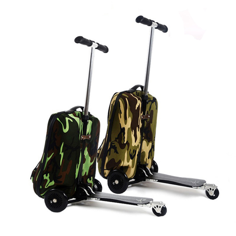 COOL 20 inches camouflage boy scooter suitcase men trolley case extrusion students backpack business Travel luggage Boarding box cool 20 inches camouflage boy scooter suitcase men trolley case extrusion students backpack business travel luggage boarding box