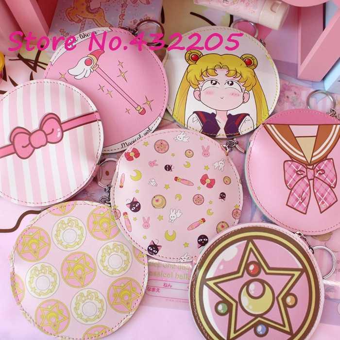 Espelho Mágico japão Sakura Sailor Moon Caneta titular Balde Portátil Mini luz Da Noite Brinquedo Fontes do Aniversário Do Partido Favores Presentes de uma Menina