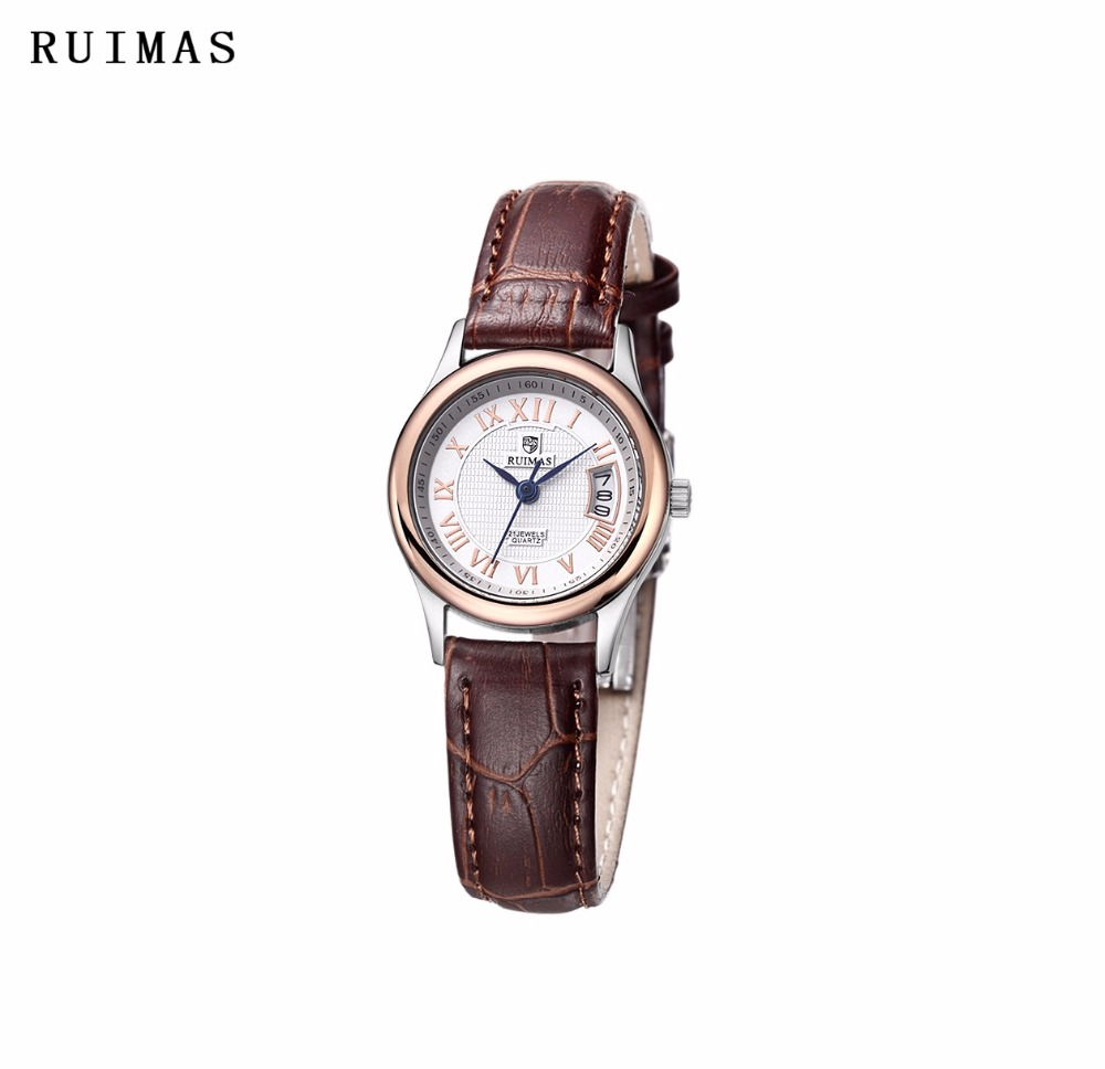 RUIMAS Luxury Brand Fashion Quartz Watch Gifts Women Watches Womens Elegance Leather Montre Femme Clock Kol Saati apr1202 elegant design bling diamond sands dial women watches fashion female dress watch rebirth luxury brand leather quartz clock gifts
