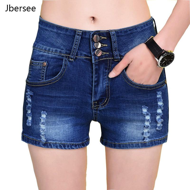 Jbersee Mini   Shorts   Sexy Ripped   Short   Jeans Female Vintage Summer Dark Blue Hole Hot   Shorts   High Waist Denim   Shorts   Women