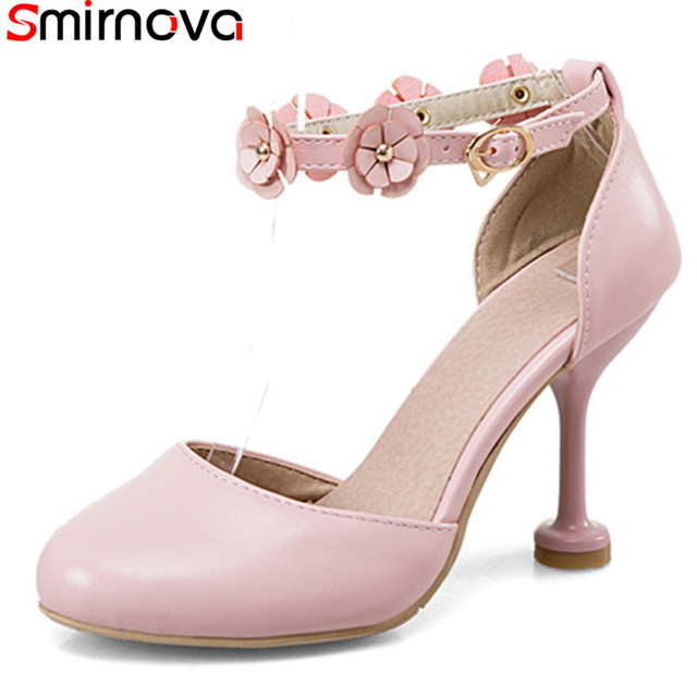 9e465e792f85 Smirnova new hot sale sweet fashion pink flower women pumps stiletto high heels  round toe solid color party shoes big size