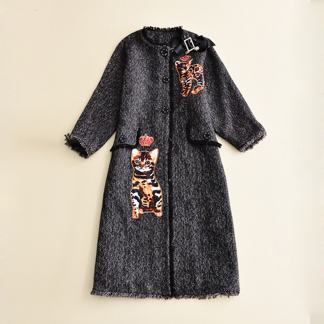 Europe And U.S. 2016 New Autumn Winter Coat Embroidery Seven Sleeve Windbreaker Ladies Bow Diamond Decorated Trench