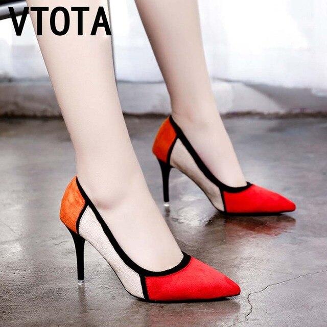 3afba9e8e0a778 VTOTA Femme Talons hauts Dames Élégantes Chaussures De Mariage Chaussures  Bout Pointu Splice Pompes Chaussures Femmes Talons hauts Zapatos De Mujer l1