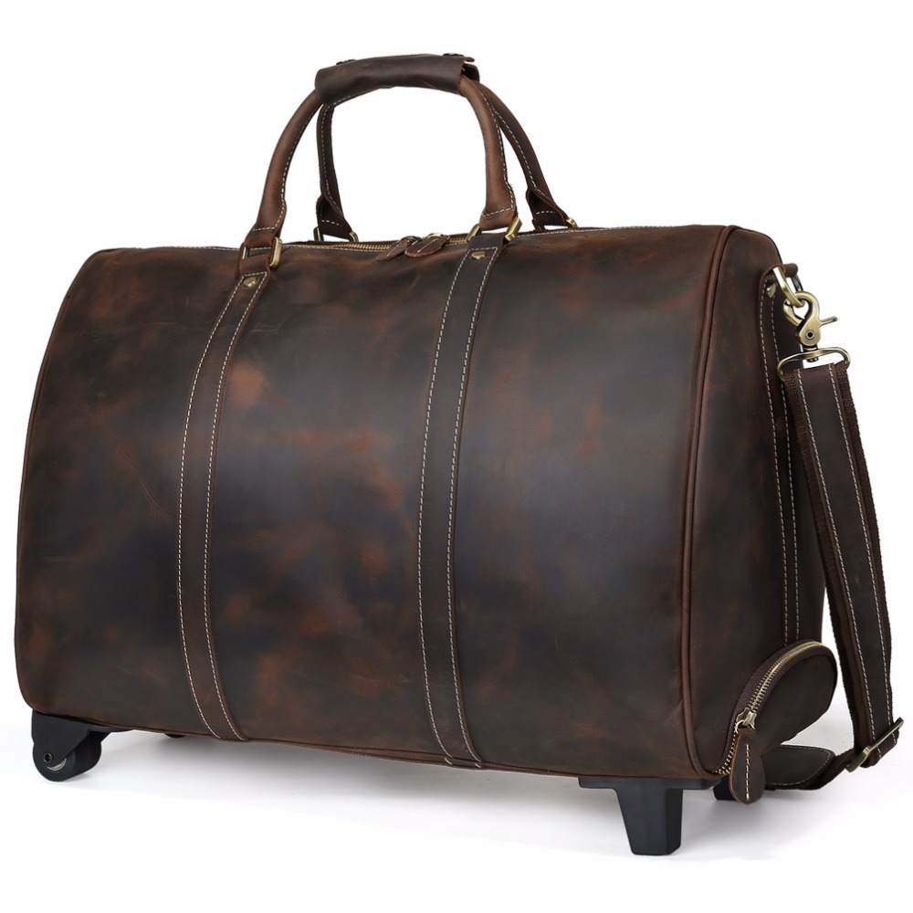 Simple Tiding Lear Travel Luggage Bags Cowhide Suitcase On Wheels Retro Style Rollingduffle Bag Cross Body Bag Bags From Luggage Bags Tiding Lear Travel Luggage Bags Cowhide Suitcase On Wheels Retro baby Rolling Duffle Bag