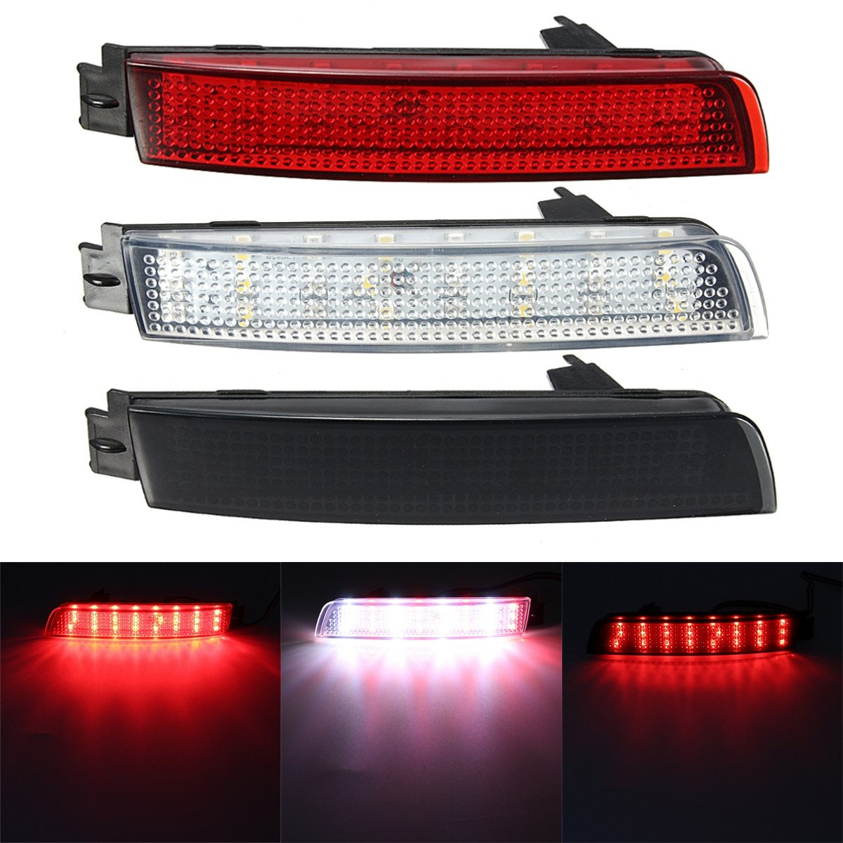 2 PCS LED Bumper Reflector Red lens Tail Brake Light Lamp For Nissan Juke/Murano/Infiniti FX35/FX37/FX50 rear bumper reflector light for nissan juke murano sentra quest infiniti fx35 fx37 fx50 led red fog parking brake tail lamp