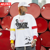 AELFRIC Vintage Color Block Long Sleeve Harajuku Mens 2019 Patchwork Letter Graffiti Hip Hop Casual Male Sweatshirts Streetwear