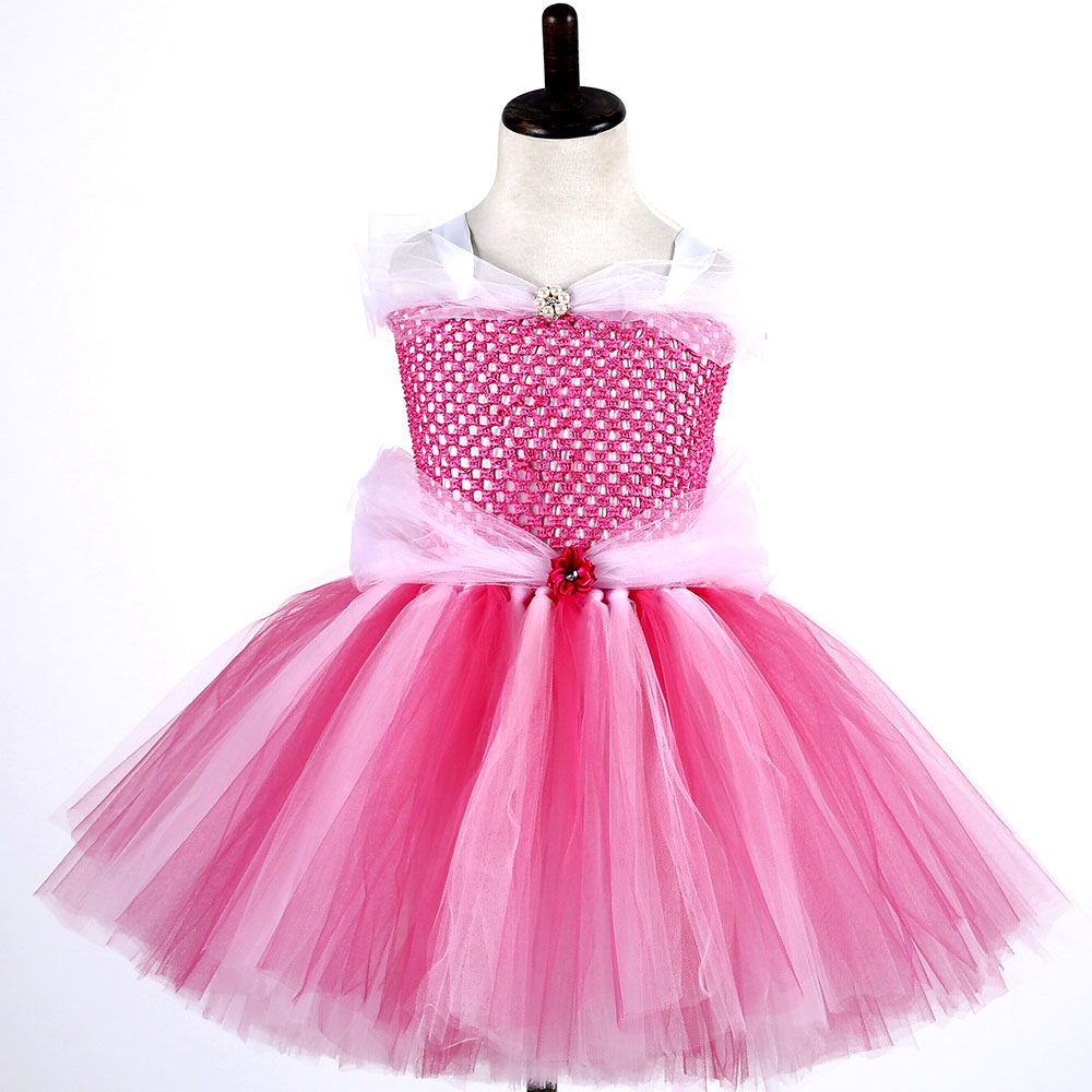 Princess Girl Tulle Tutu Dress Hot Pink Sleeping Beauty Aurora Birthday Party Cosplay Tutu Dresses Halloween Custom for Kids girls sleeping beauty princess cosplay party dresses children long sleeve aurora costume clothing kids tutu dress for christmas