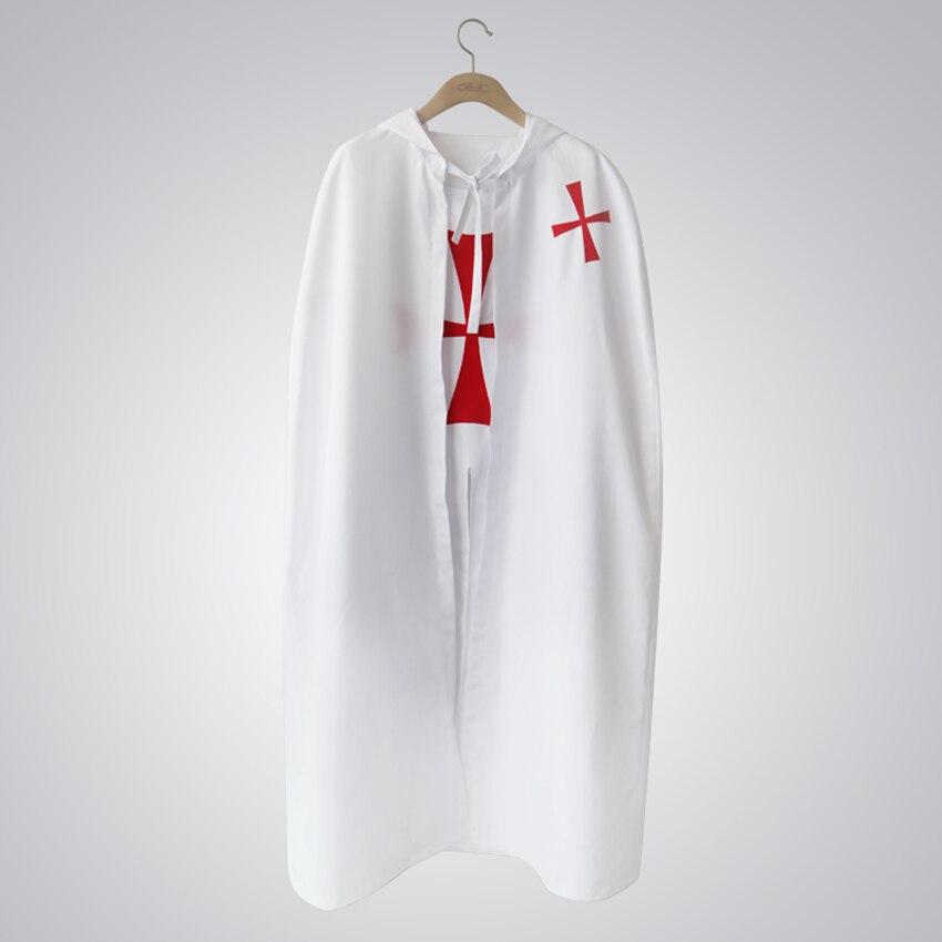 Новое поступление полиэстер человека Хэллоуин Косплэй Рыцари тамплиеры костюм с плащ Белый Лидер продаж Мода Высокое качество XM169821