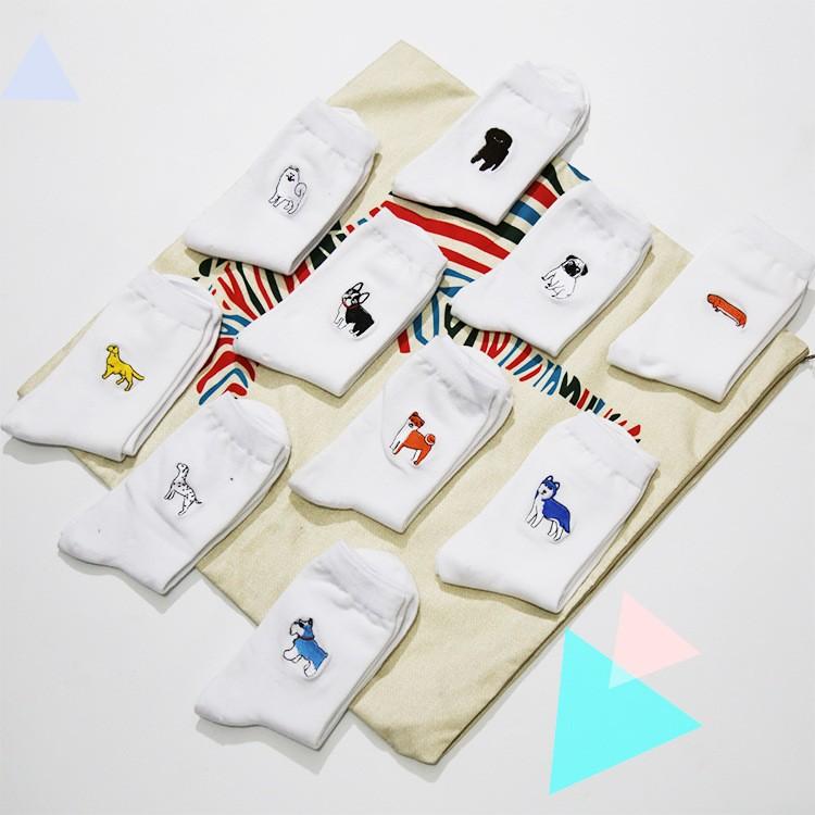 cute animal husky embroidery women cotton white socks lovely dog Jacquard female pure color socks funny kawaii pug meias soks 17