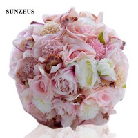 Pink Rose Artificial Flowers Bridal Bouquet for Wedding Party Women Hand Flowers Satin Ribbons 2019 Newly ramo novia SWB14