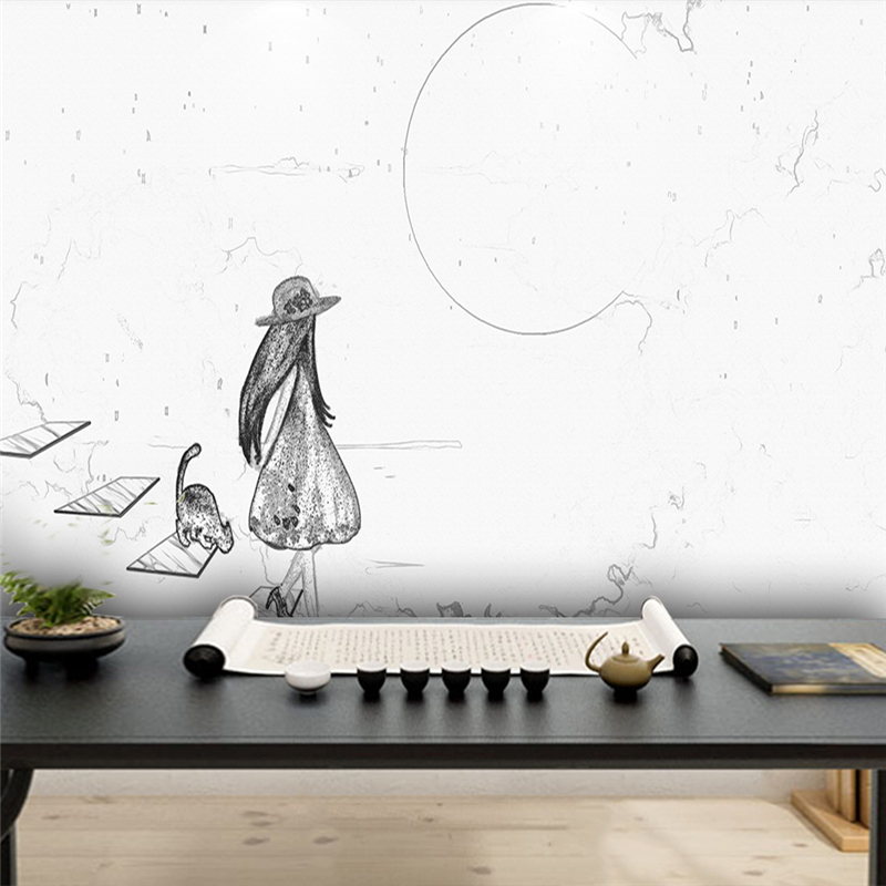 Decorative wallpaper Modern simple style creative abstract cat and girl back figure background wall painting in Fabric Textile Wallcoverings from Home Improvement