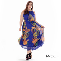 BerryGo Floral Print Halter Chiffon Long Dress Women Backless 2018 Maxi Dresses Vestidos Sexy White Split