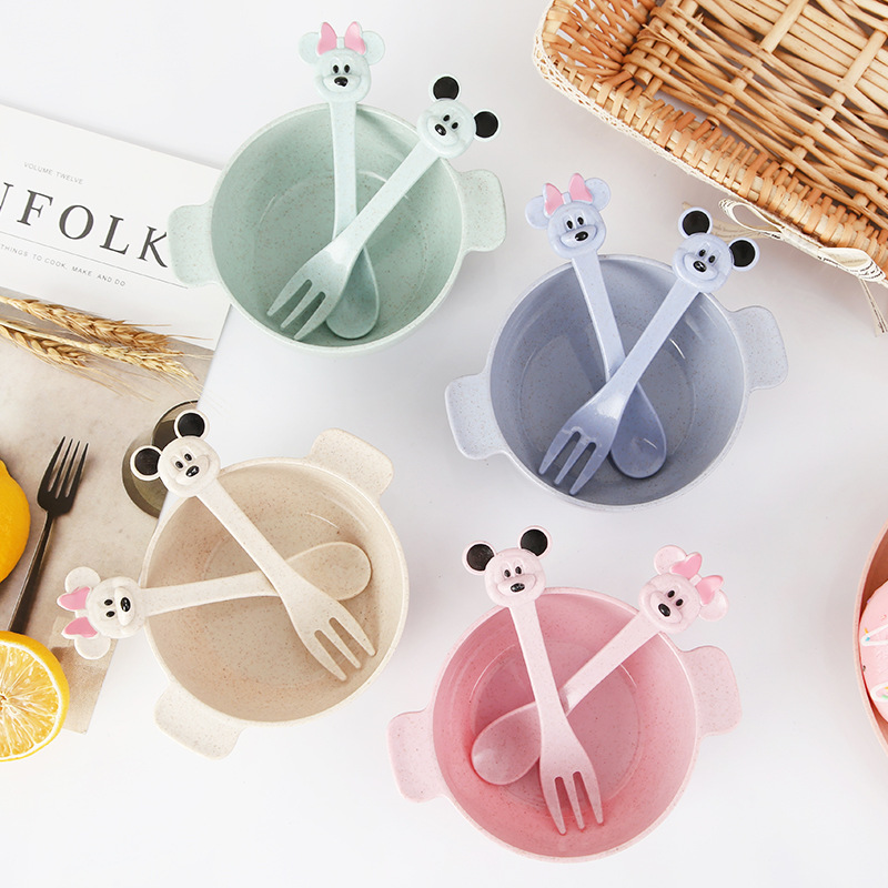 3Pcs/Set Baby Food Storage Tableware Toddle Solid Cute Cartoon Dishes Kids Plate Bowl Eco-friendly Children Training Dinnerware