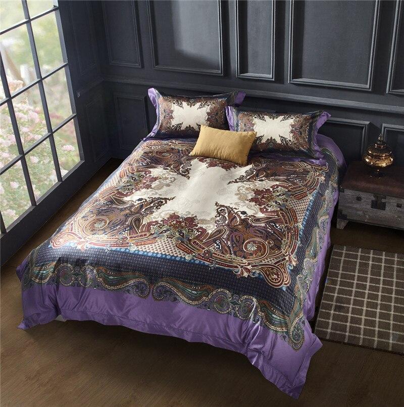 New Bohemia style 4/6pcs Bedding Set Polyester Bed Sheet Cozy Duvet Cover Sets Bedspread Queen/King Size Jogo de Cama