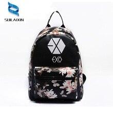 Женские кожаные EXO школы с цветочным принтом рюкзак элегантный дизайн маленькое путешествие EXO рюкзаки для девочек-подростков сумка Mochila Feminina