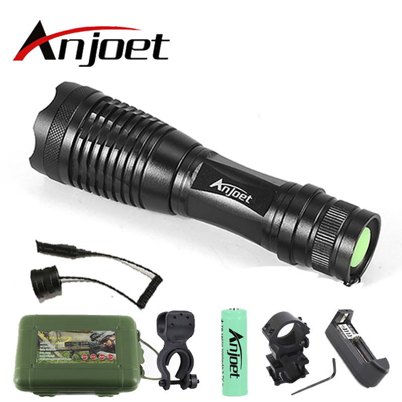 Anjoet Set E6 XM-L T6 5000LM Aluminum Waterproof Zoomable CREE LED Flashlight Torch light for 18650 Rechargeable Battery or AAA