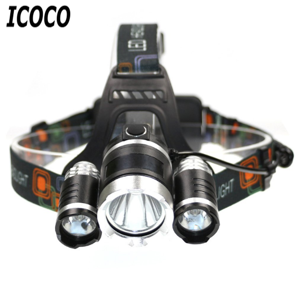 ICOCO 1500LM 3 Lights Fixed Focus T6 Headlamp Rechargeable Headlight for Fishing Hunting Camping Riding Flashlight Torch Light